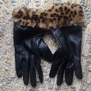 Faux Leather and Fur Gloves